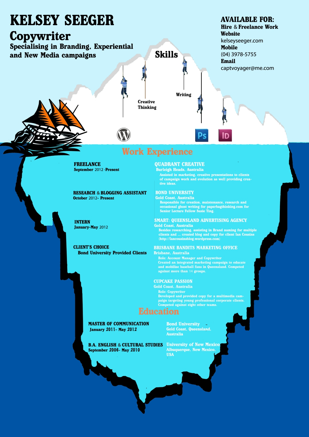 creative cv the iceberg principle kelsey seeger iceberg cv side 1